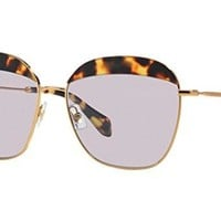 Miu Miu 53QS 7S03F2 Gold Tortoise 53QS Butterfly Sunglasses Lens Category 1 Len