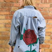 Distressed Rose Denim Shirt