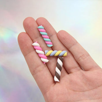 24mm Candy Stripe Swirl Marshmallow Clay Twist Sticks Resin or Fimo Cabochons - 8 pc set