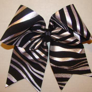 Silver and Black Zebra Cheer Bow