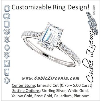 Cubic Zirconia Engagement Ring- The Delanie (Customizable Cathedral-set Emerald Cut Style with Thin Pavé Band, Inlaid Milgrain and Tiny Peekaboo Accents)