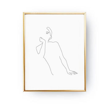 Female Upper Body Print, Female Body, Line Drawing, Woman Art, Black And White, Minimal Art, Woman Figure, Single Line, Woman Illustration