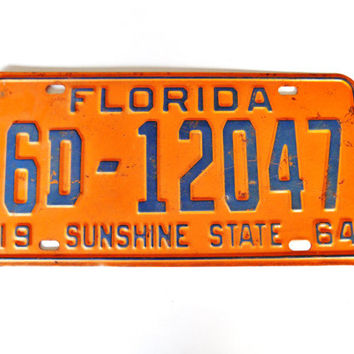 Vintage 1964 Florida License Plate -  Sunshine State - Palm Beach County -  Ready for Your Classic Car - Historic Vehicle Plate - Orange
