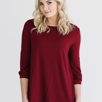 Burgundy DLMN Cuffed 3/4 Sleeve Top