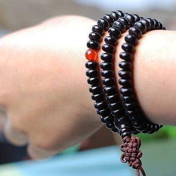 Black Bodhi Beads Long Bracelet