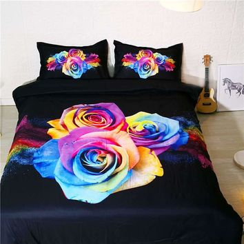 3D bedding set king size plant rose duvet cover queen size bedding for couple bedroom decor printed hotel wedding home textile