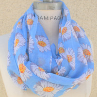 Pink Scarf Blue Scarf Infinity Scarf Women's Scarf Daisey Flower Printed Loop Scarf - By PiYOYO