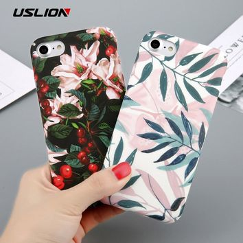 Case For iPhone 6 Flower Cherry Tree Hard PC Phone Cases Candy Colors Leaves Print Cover For iPhone 6 6s 7 8 Plus