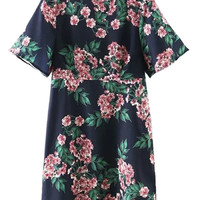 Multicolor Floral Short Sleeve A-line Dress