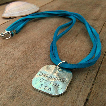 Dreaming of the Sea Pendant Necklace, Beach Theme Jewelry, Turquoise Blue Wrap Necklace, Suede Cord Necklace, Beach Ocean Lovers, Sealife