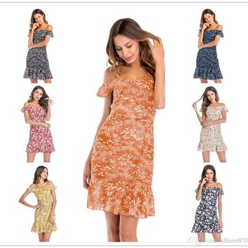 Women summer dresses Slim Women clothes Sexy word shoulder Tiered ruffles Floralprint fashion Hot selling Chinawomenclothingmanufacture