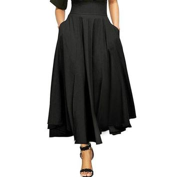 ICIKON3 Women high waist pleated a line long skirt front slit belted maxi skirt 2