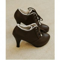 Elegant Lace-Up Pointed Cowhells Sole High Heel Shoes For Women China Wholesale - Everbuying.com