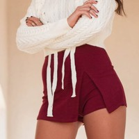 Smiling Forever Burgundy Side Slit Skort