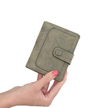 Womens Leather Small Bifold Wallet with ID Window Coin Card Sleeve RFID Blocking