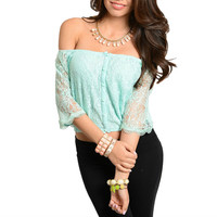 Off Shoulder Button Down Crop Top in Mint