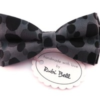 Bow Tie - grey bow tie - bow tie with grey background and black dots - man bow tie - mens bow tie