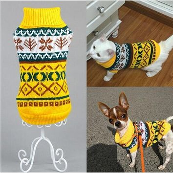 New Snowflower Warm Knitwear Cat Sweater Pet Jumper Coat For Small Puppy Dogs Cat Christmas Xmas Dog Clothes