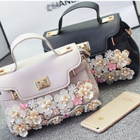 Mini PU Shoulder Bag with Bling Pearl Flowers, Shoulder bag Purse for Women