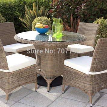 2017 Hot sale 5pcs Outdoor Garden Rattan Wicker Table and Chair Set