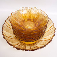 Vintage Amber Glass Sunflower Salad Bowl Set Indiana Glass Co 1960s Art Glass 7 Piece Serving Bowl Set Yellow Marigold Bowls