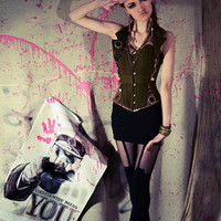 Steampunk corset military army armed forces for costume/ cosplay/ fancy dress/ halloween. MADE TO ORDER.