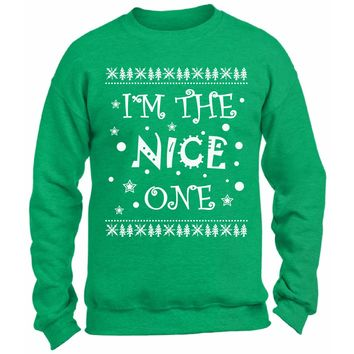 I'm The Nice One Christmas Sweatshirt. Funny Couples Christmas Sweater. Funny Xmas Gifts. Ugly Christmas Sweater.