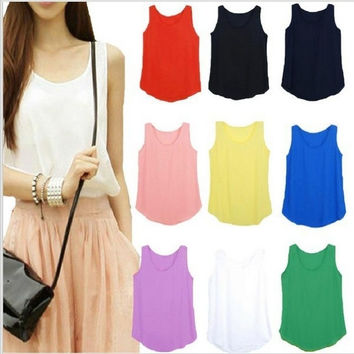 Women fashion Chiffon tank Tops Vest Shirts solid candy 12 color camis chiffon loose top Shirt = 1958542596