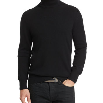 TOM FORD Classic Flat-Knit Cashmere Turtleneck Sweater, Black