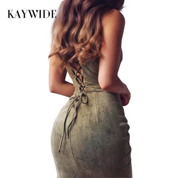 KAYWIDE 2017 Women Dresses Series Spring Suede Fashion Hollow Out Summer Solid Bodycon Midi Dress For Women Vestido A16350