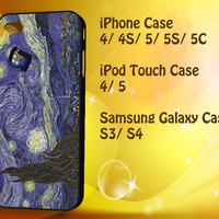 Dr Who Tardis In Van Gogh iPod Touch 4 / 5 case, iPhone 4/4S / 5/ 5s/ 5c case, Samsung Galaxy S3/ S4 case
