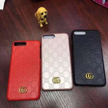 Gucci Fashion Personality Leather iPhone Phone Cover Case For iphone 6 6s 6plus 6s-plu