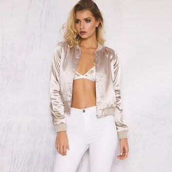 New winter coat thin metallic satin satin bomber jacket raglan sleeve zipper jacket