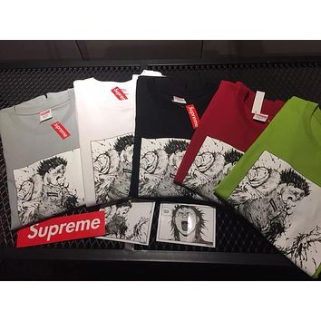 """Supreme x Akira"" Unisex Casual Fashion Personality Comics Pattern Print Short Sleeve Cotton T-shirt Top Tee"