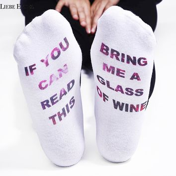 IF YOU CAN READ THIS Socks Women Funny White Low Cut Ankle Sock Hot Sale 2017 for Valentine Bring Me A Glass Of Wine 2 Pairs/Lot