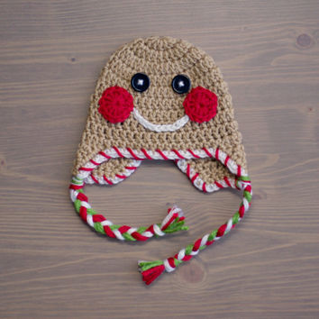 Crochet Gingerbread Man Hat, Crochet Baby Hat, Newborn Photo Prop, Crocheted Baby Hat, Gingerbread Man Baby Hat, Christmas Hat, Holiday Hat
