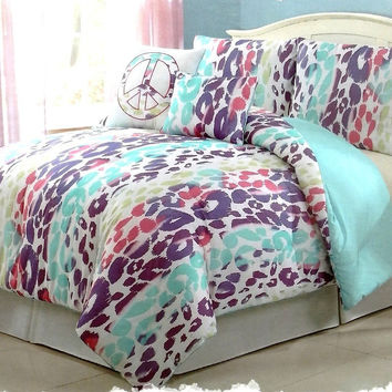 Girls Kids Bedding- ASHLEY Leopard Multi Colored Comforter Set