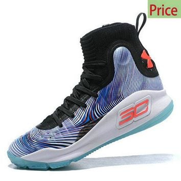 Cheapest 2018 Mens Under Armour Curry 4 Mid Basketball Shoes More Magic Black Blue White sneaker