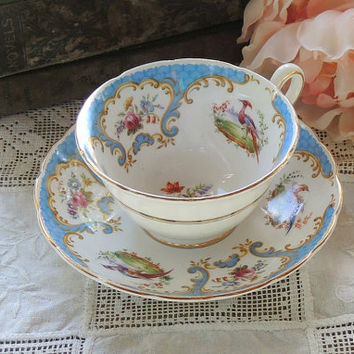 On Sale Grosvenor Rutland Tea Cup Duo, Blue and White Tea Cup Set Fine English Bone China Elegant Tea Party
