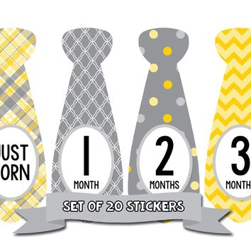 Baby Boy Monthly Baby Tie Stickers - Baby Month Deluxe Sticker Set of 20