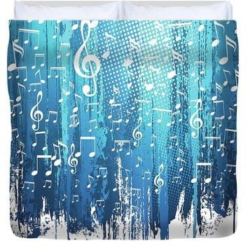 Blue Paint Strokes and Music Notes - Duvet Cover-Custom Designed, Made To Order