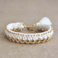 White crochet bracelet with chunky chain and beads, tassel bracelet, woven bohemian bracelet