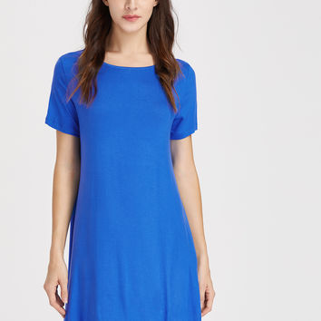 Blue Short Sleeve Tee Dress