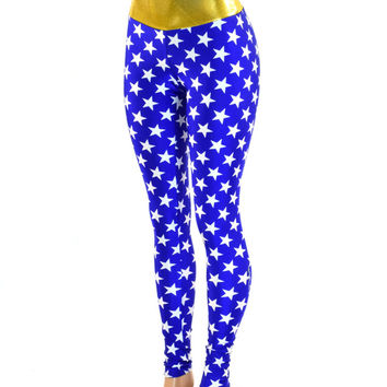 Blue and White Star Wonder Woman Leggings with Gold Waistband