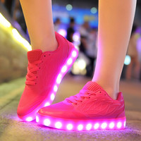 2016 women light up led luminous shoes recharge for men adults neon basket color glowing casual fashion with new simulation sole