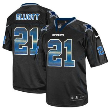 KUYOU Dallas Cowboys Jersey - Ezekiel Elliott Black Strobe Elite Jersey