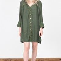 Love Lace Crochet + Button Dress {Olive}