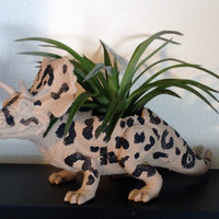 Up-cycled Cheetah Print Triceratops Planter