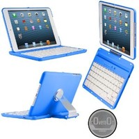CoverBot iPad Mini 3, iPad Mini Retina Display and iPad Mini Keyboard Case Station BLUE. Bluetooth Keyboard For 7.9 Inch New Mini iPad with IOS Commands. Folio Style Cover with 360 Degree Rotating Viewing Stand Feature
