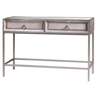 Mancini Mirrored Top Console Table 2 Drawers, Cream/Silver